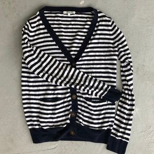 Madewell Navy Striped Travel Cardigan